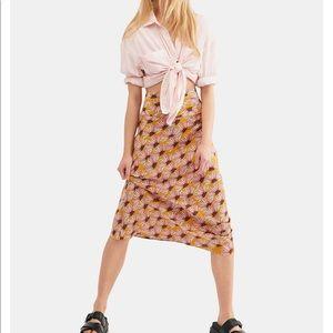 NWT Free People Normani Bias Printed Skirt 6–honey